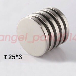 Wholesale 25mm X 3mm Super Strong Round N50 Round Rare Earth Neodymium Magnets
