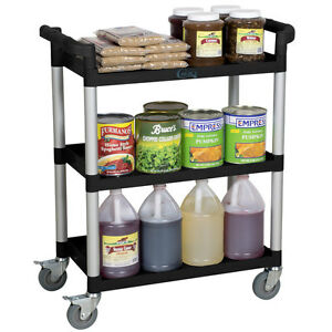 Choice 32 X 16 X 38 Black Plastic 3 Shelf Restaurant Utility Bus Cart Bonus