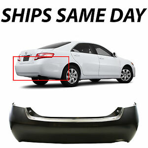 New Primered Rear Bumper Cover For 2007 2011 Toyota Camry Single Exhaust 07 11