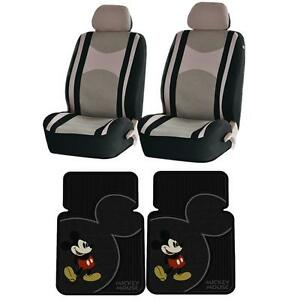 6pc Black Beige Seat Covers Mickey Mouse Vintage Front Rubber Mats Universal Set