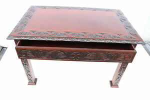 Antique American Victorian Heavily Carved Mahogany Desk Center Hall Table 19th