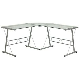 Brand New Glass L shape Computer Desk With Silver Frame Finish