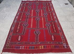 4 7 X 8 2 Ft Old Central Anatolian Konya Cicim Embroidery Rug Large Red Kilim