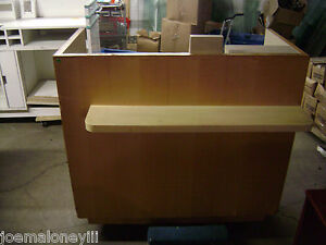Kiosk Small Retail Register Counter Blonde W Shelf 1018 48 X 36 X 44