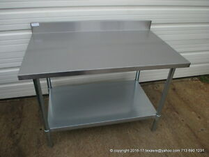 New Stainless Steel Work Prep Table 48 X 30 With Back Splash Nsf