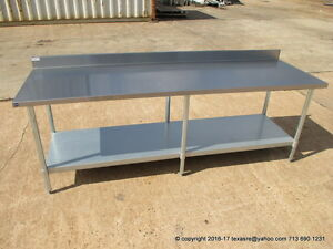 New Stainless Steel Work Prep Table 96 X 30 With Back Splash Nsf
