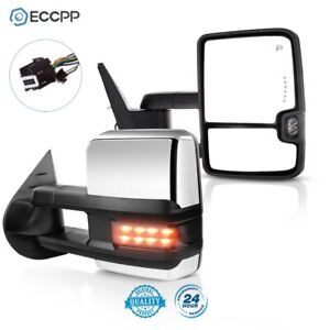 Towing Mirrors For 07 14 Chevy Gmc Chrome Side Power Heated Led Signal Pair Set