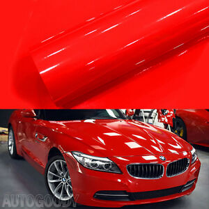 12 X 60 Super Gloss Red Vinyl Film Wrap Sticker Air Bubble Free 1ft X 5ft