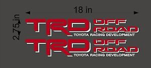 Toyota Trd Off Road Pair Red And White Vinyl Truck Vehicle Decal Graphics