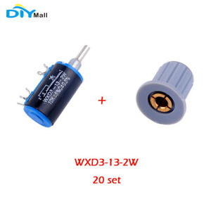 20set Wxd3 13 2w 10k Ohm Multiturn Wirewound Potentiometer With 4mm Rotary Knobs