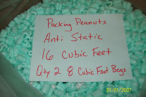 Packing Peanuts Loose Fill Anti Static Green 16 Cubic Feet 120 Gallons Brand New