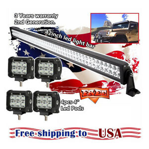 42inch Led Light Bar 4x 4 Cree Work Pods Atv Suv 4wd Off Road Truck Jeep Ford