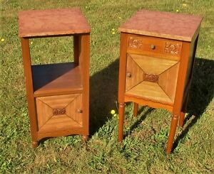 Pair Couple Art Deco Carved Wood Nightstand Marble Top Cabinet End Table Drawer