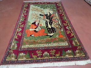4 X 7 Semi Antique Hand Made Persian Kashan Pictorial Wool Rug Leily Majnon