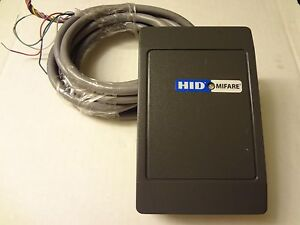 Hid Mifare 6055bgl0000 Biege 9ft Cable Access Controls Card Reader Gray