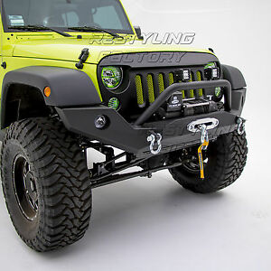 Rock Crawler Front Bumper With Winch Plate black Fit 07 18 Jeep Jk Wrangler