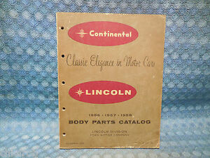 1956 1957 1958 Lincoln Continental Original Body Parts Catalog