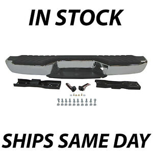 New Chrome Complete Steel Rear Bumper Assembly For 1998 2004 Nissan Frontier