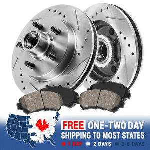 Front Drilled Slotted Brake Rotors Ceramic Pads Ford Expedition F150 Lightning