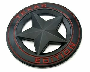 Texas Star Edition 3 Emblem Black And Red Universal Stickon Tacoma Tundra Truck