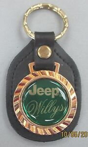 Vintage Green Jeep Willys Royal Classic Gold Key Ring Black Leather Key Fob