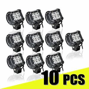 10 Pcs 18w Led Work Light Bar Spot Beam Off Road Driving Fog Lamp Truck 4wd