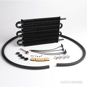 Aluminum Remote Transmission Oil Cooler Manual Auto Radiator Converter Kit Bk