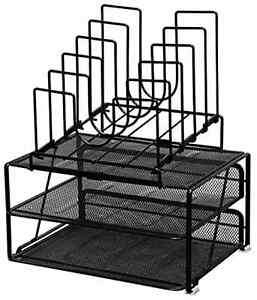 Desk Office Pens Supplies Organizer Set Double Tray 5 Stacking Sorter Sections