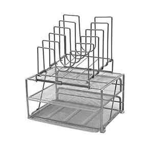 Desk Office Organizer Set With Double Tray 5 Stacking Sorter Sections Silver
