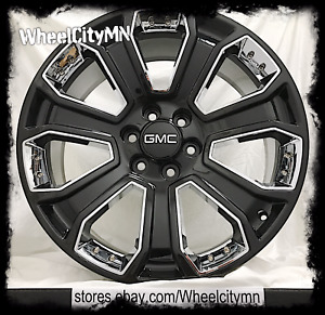 20 Inch Gloss Black Chrome Insert 2017 Gmc Sierra Denali Oe Factory Wheels 6x5 5