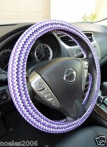 Handmade Steering Wheel Cover Purple Aqua Navy And White Chevron Zig Zag