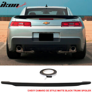 Fits 14 15 Chevy Camaro Oe Low Blade Painted Matte Black Trunk Spoiler Wing Abs