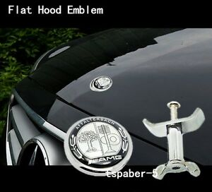 Flat Hood Emblem Badge Kit For Amg W204 W205 W212 W221 W220 C Class E Class