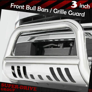 3 Chrome Bull Bar Grille Guards For 2004 2018 Ford F 150 Bumper With Skid Plate