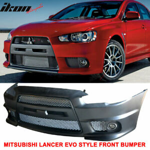 Fits 08 15 Lancer Evo Front Bumper Cover Conversion Front Grille Fog Cover