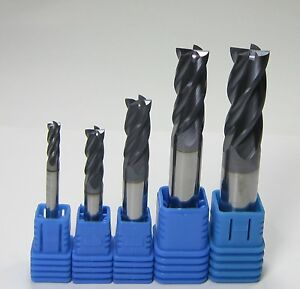 5pcs Hrc45 4 Flutes 4 6 8 10 12 Mm Carbide End Mills Set Milling Cutter Cnc Tool
