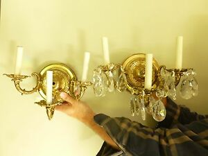 Pair Of Vintage 3 Arms Brass Sconces W 6 Prisms Each