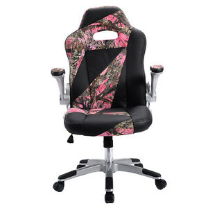 Pu Leather High Back Executive Office Desk Task Computer Chair Pink Camo New