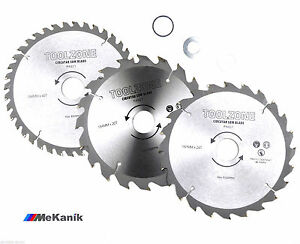 184mm Tct Circular Saw Blades X 3pc 20 24 40 Teeth 3 Adapter Rings Fits 185mm