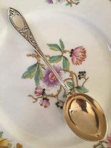 Antique Marthinsen Norway Drage Dragon 830 Silver Jelly Serving Spoon Gold Wash
