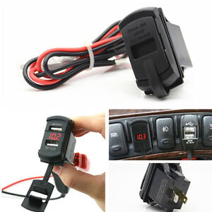 Dual Ports Usb Charger Carling Arb Car Marine Boat Switch Jack Panel Voltmeter