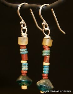 Ancient Roman Egyptian Stone Bead Earrings 300 B C 100 A D Charming
