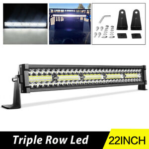 22 240w Led Light Bar Tri Row Spot Flood Off Road Bumper Driving Atv Rzr 4 Suv