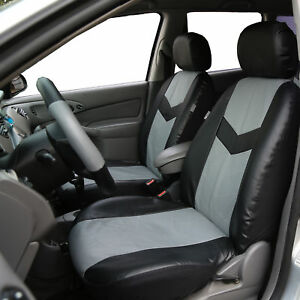 Pu Leather Front Bucket Seat Covers For Sedan Suv Auto Univeresal Gray Black
