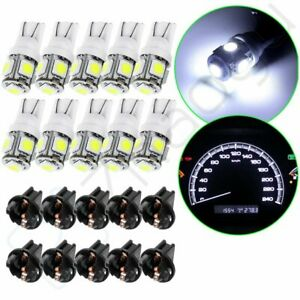 10pcs White T10 194 168 5smd Instrument Panel Gauge Cluster Dash Led Light Bulb