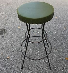 Vintage Rod Wrought Iron Revolving Stool Industrial Machine Age Steampunk