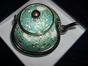 Antique Silver Enamel Gorgeous Possibly Indian Persian Tea Set 19 68 Oz
