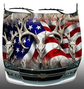 American Flag Buck Obliteration Hood Wrap Vinyl Decal Graphic Style 2
