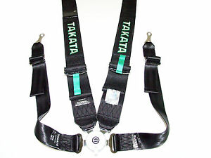 Takata Race 4 Point Bolt On 3 Racing Seat Belt Harness With Camlock Black