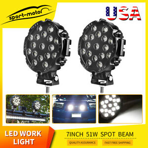 2pcs Round 7inch 51w Led Work Light Offroad Tractor Jeep Atv 4wd Bumper Fog Pods